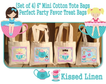 Little Girl Tea Party Birthday Treat Favor Gift Bags Mini  Cotton Totes Children Kids Guests Tea Party Favor Gift Bags - Set of 4