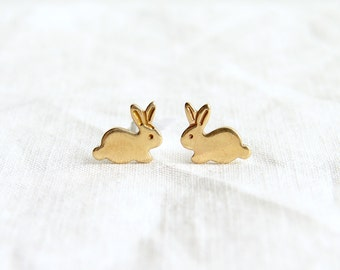 Teeny Tiny Gold Bunny stud Earrings ~ Brass Easter Rabbit Stud Earrings ~ Easter Gift ~ Simple Modern Jewelry by PetitBlue