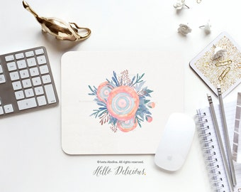 """Mouse Pad """"Ranunculus"""" by Iveta Abolina Mousepad Mouse Mat Coral Mouse Pad Office Mousemat Rectangular Mousemat Floral Mousepad Round 44."""