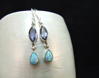 Blue Opal and Iolite Sterling Silver Drop Earrings