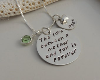 The love between a mother and son / daughter is forever - Personalized Hand Stamped Name Necklace - Heart / Birthstone