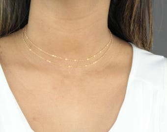 Choker Sale! Chain Choker Necklace-Gold Filled Chain Choker-Sterling Silver Chain Choker-Wrap Chain Choker-Dainty Chain Choker-Simple Choker