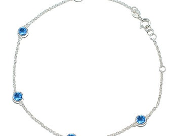 925 Sterling Silver Round-Cut Cubic Zirconia Anklet 9 3/4 inches