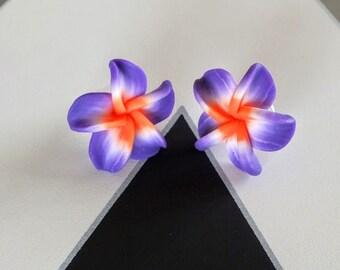 Purple and Orange Tropical Plumeria Flower Stud Earrings