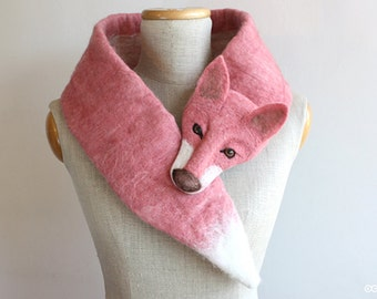 Fox Pink de Luxe - felted wool animal scarf