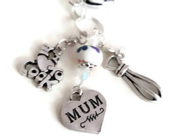 Mothers Day, Love to, Cook, Chef, Gift, Cooking, Baking, Her, Christmas, Birthday, Customisable, Whisk, Food mixer, Charms, Hobby,  Bake,