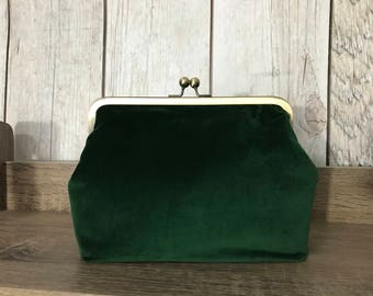 Green velveteen Christmas clutch with kiss clip frame