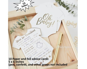 Oh Baby advice cards, advice for new parents, baby shower ideas, guest book alternative, gender reveal party, mementos, wishes, shower games
