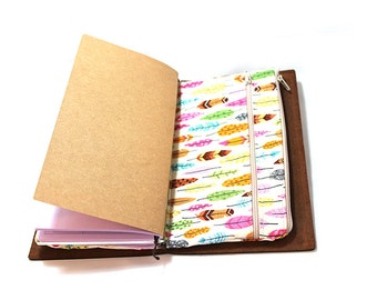 Zippered Insert for Midori Travelers Notebook, Standard Size, Personal Size, Passport Size, Micro Size - Under the Stars Feathers on Cream