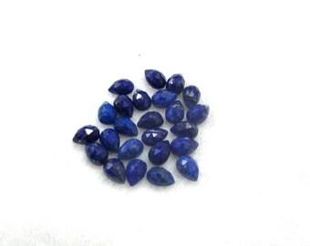 5 pieces 4x6mm Lapis Rosecut Pear Loose Gemstone, BLUE LAPIS LAZULI Pear Rosecut faceted cut gemstone.....