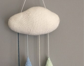 Crochet cloud with raindrops wall decor/ childrens mobile