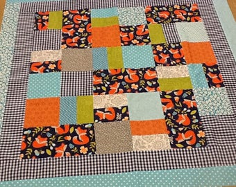 Quilt Top Foxy's Back Yard, Unfinished Baby Quilt Top, Scrappy' Orange, Navy, Teal, Gray, Gender  Neutral, Cotton