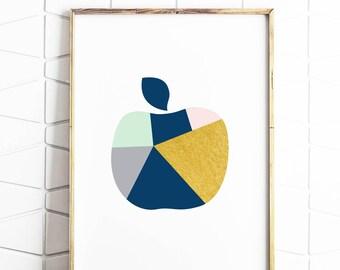 abstract apple wall art, fruit wall print, fruit abstract art, instant download art, apple scandi art, apple poster decor, apple geometric
