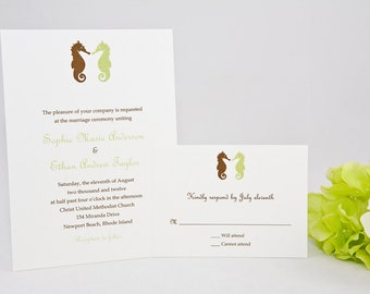 Seahorse Wedding Invitation - Sample