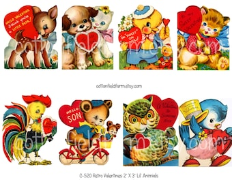 Retro Valentines Lil Animals Digital Collage C-520 for Scrapbooking, Tags, Cards, Journaling Spots