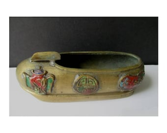 Shoe Ashtray * Chinese Shoe/Slipper Ashtray * Vintage Collectible Brass Ashtray