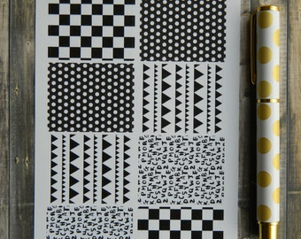 Black/White Decorative Full Box Sticker Sheets for Planners (A-078)