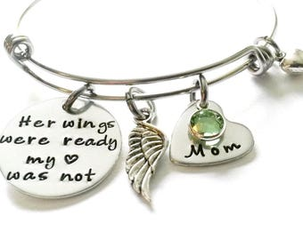 Memorial Bracelet, Memorial Jewelry, Memory of Mom, Mom Memorial, Angel Mom, Remembrance Bracelet, Remembrance Jewelry, Sympathy Gift