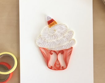 Quilling Paper Candy Corn Cupcake for Home Decor - Candy Corn Cupcake Wall Decor