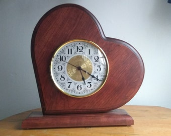 Heart Clock - Amish Made - Quartz Timepiece - Weddings and Anniversaries - Engrave-able!