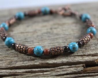 Turquoise Copper Brown Goldstone Bracelet / Turquoise Jewelry / Copper Jewelry / Gifts for Her / Gifts for Women / Boho / Gemstone Bracelet