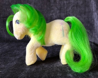 Vintage G1 So Soft fuzzy My Little Pony Magic Star yellow green