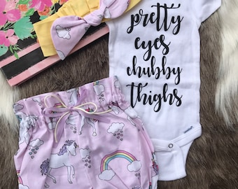 Unicorn Bloonmer with headband /Coming Home Outfit, Outfit Girl Going Home Outfit spring Baby Outfit