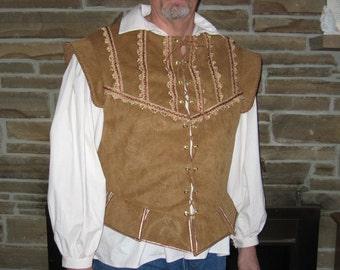 Custom mens doublet jerkin vest renaissance pirate nobleman celtic musketeer rogue costume