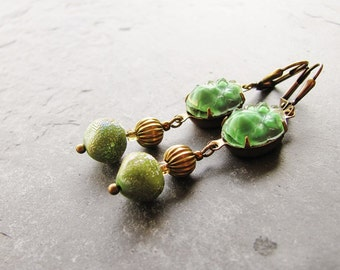 Vintage Fern Green Beaded and Antique Brass Earrings