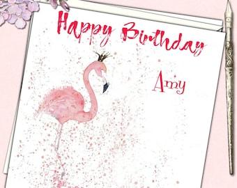 Personalised Birthday Card Pink Flamingo Mother Daughter Niece Granddaughter