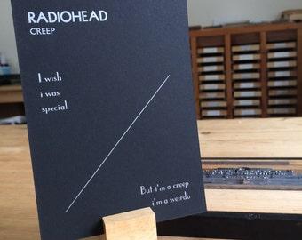 Letterpress typeset Song Lyrics - Radiohead - Creep