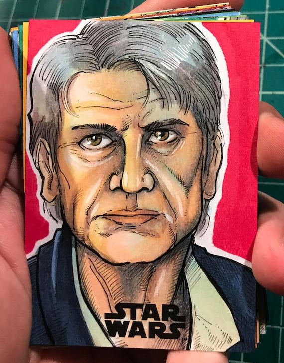 Journey to the Last Jedi Original Artist Sketch Card: Han Solo