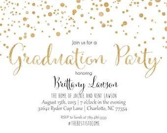 Graduation Party Invitation, Glitter Graduation, Confetti, Graduation, Birthday Party Printable Invitation, Graduation Celebration,