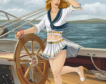 Cape Charles, Virginia - Sailor Pinup (Art Prints available in multiple sizes)