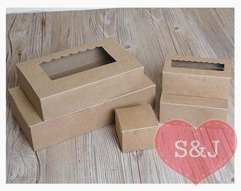 10x BROWN Kraft Cardboard Rectangular box containers with Window