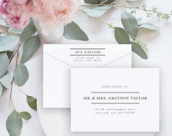 Envelope Template, Editable Printable Template, Printable Envelope, Modern Lines Wedding Envelope | No. EDN 5001