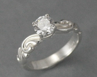 Flourish le Femme Engagement Ring--Sterling Silver carved band set with Cubic Zirconia--Faux Diamond