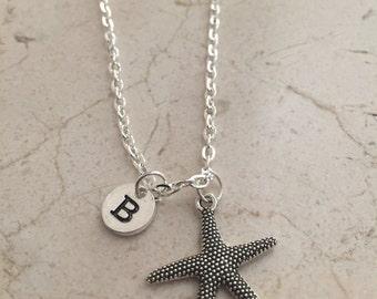 Starfish initial necklace, starfish jewelry, beach necklace, ocean jewelry, sea necklace, beach jewelry, silver starfish necklace