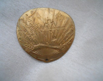 Vintage Oxidized Brass Etched Fan Stamping