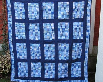 Blue Medley Madras Quilt or Throw