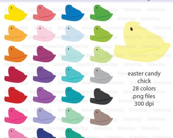 Easter Candy Chick Images 28 PNG Digital Clipart - Instant download - marshmallow, sugar, basket