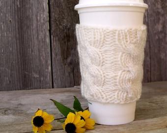 Coffee Sleeve, Coffee Cozy, Cable Knit Coffee Cup Sleeve, Cream, Off White, Coffee Cup Sleeve, Coffee Cup Cozy, Travel Mug Sleeve, Mug Cozy