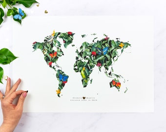 Personalised World Map Art Print | World Map Wall Art | Couples Gift | Wedding Gift | Gift for Husband | Gift for Wife | Botanical Prints