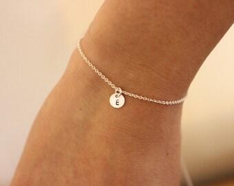 Tiny initial bracelet, personalized bracelet, letter bracelet, delicate bracelet , dainty bracelet, silver bracelet, simple, minimal jewelry