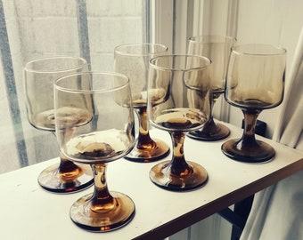 Mid Century Modern Retro Set of Six Smoked Glasses Barware Glassware