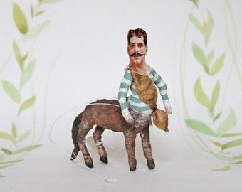 AUFTRAGSARBEIT ++  Zentaur Nostalgischer Christbaumschmuck Wattefigur Ornament Spun Cotton