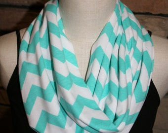 """Infinity Scarf- Aqua Blue Chevron Infinity Scarf - Circle Loop Scarf 9"""" x 64"""" L-Easter Scarf-Spring Scarf-Quantity Discounts Available"""