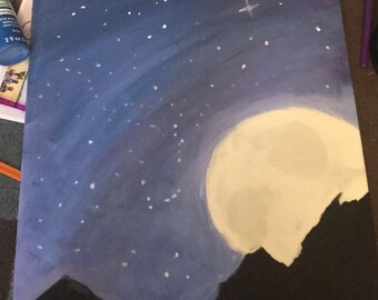 Moonlight Night Sky/Landscape Painting/ Canvas/ Nature Painting