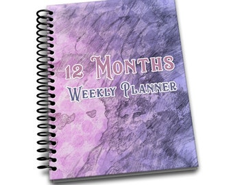 12 Months Weekly Planner: Undated Weekly Planner | 2 pages per week | Notes | Pink Canvas