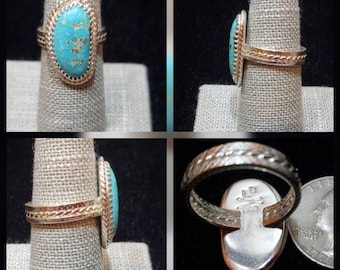 Sterling Silver Turquoise Mountain Kingman with Pyrite Ring- size 7